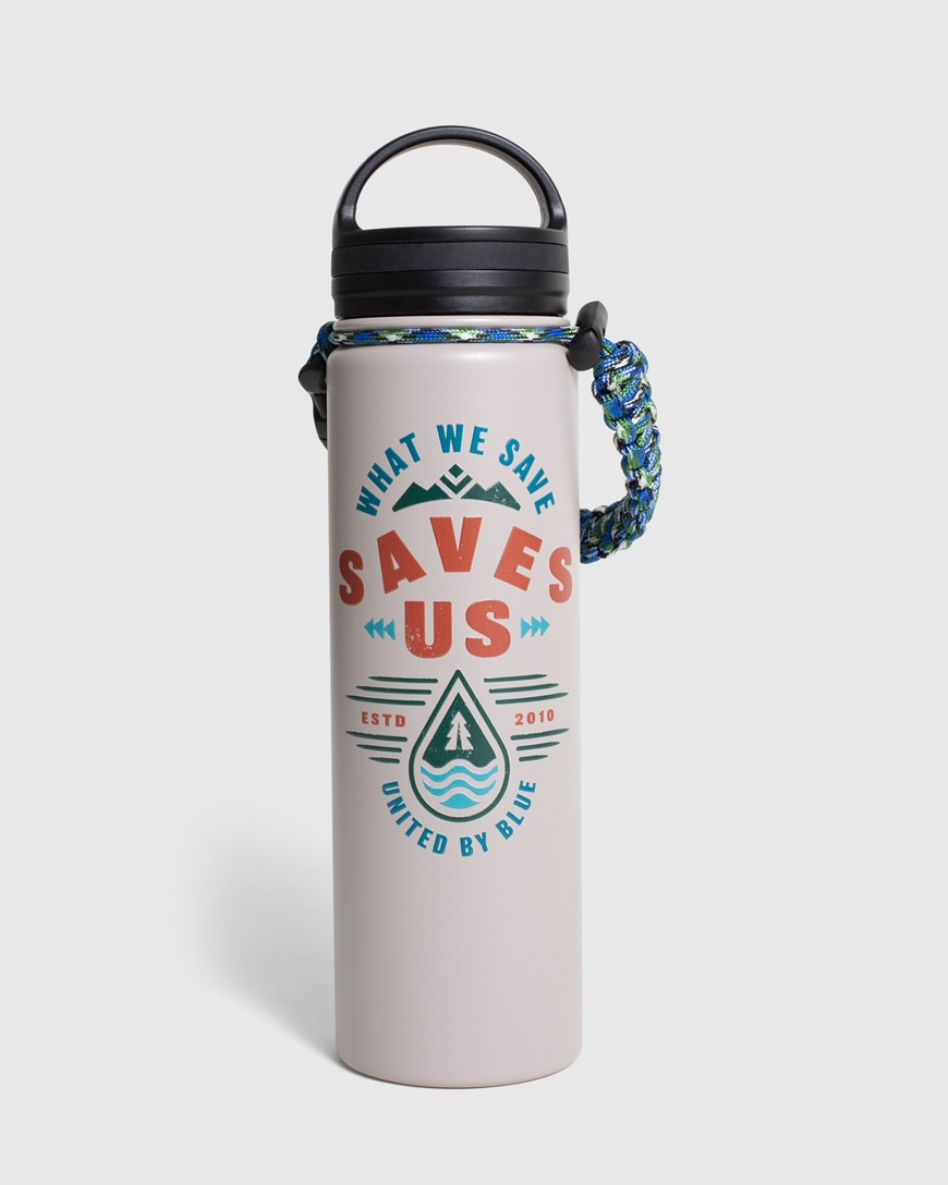 UNITED BY BLUE WHAT WE SAVE BOTTLE